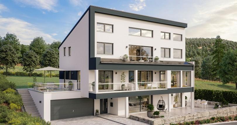 Schäfer Fertighaus entwirft beeindruckendes Pultdachhaus im Bauherrenauftrag