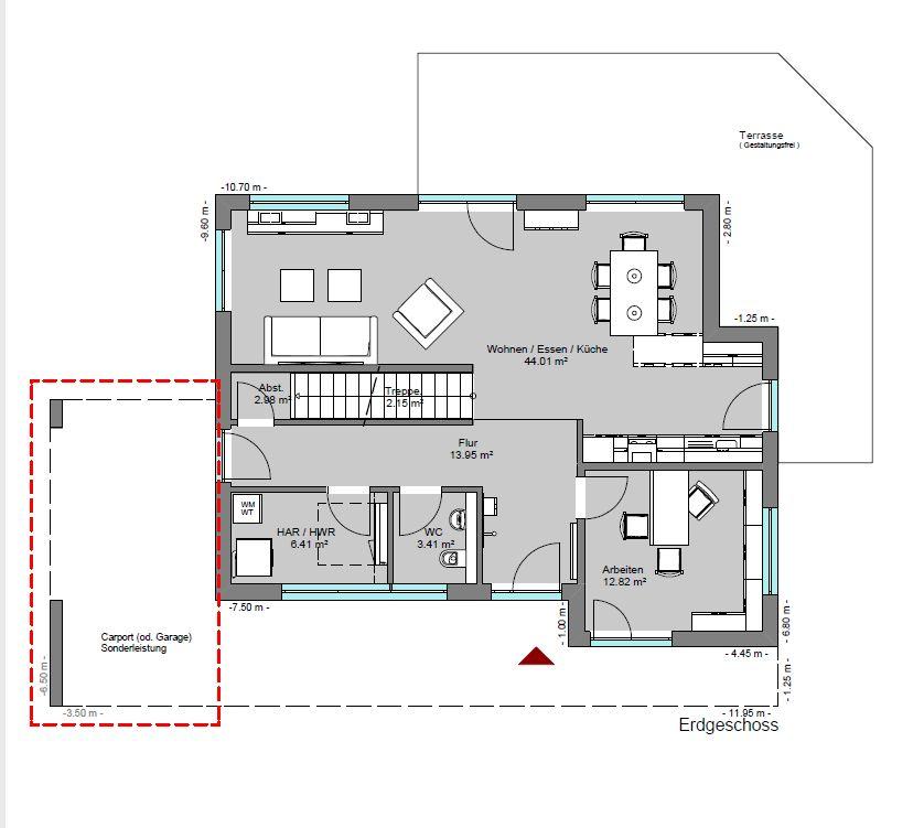 Grundrissvorschlag für den Hausentwurf Kubus 193-0-0
