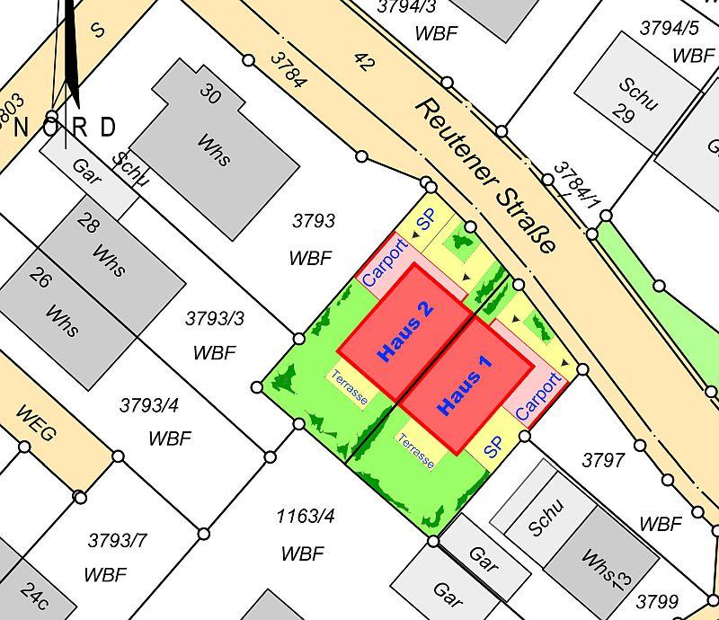 Baugrundstücke für zwei Doppelhaushälften in Vörstetten