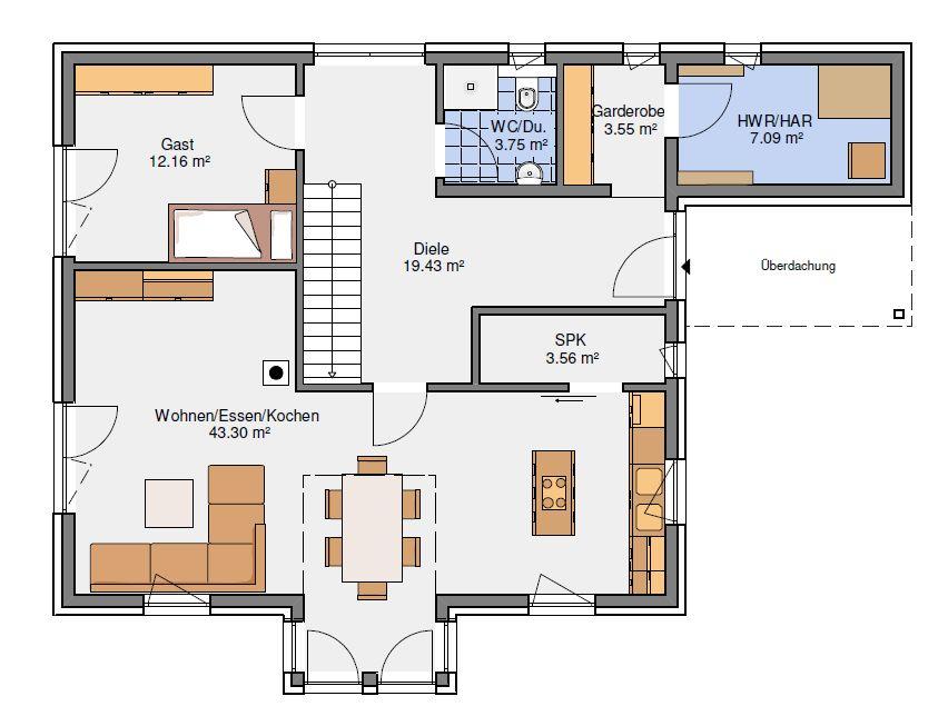 Grundriss Erdgeschoss EFH 181-22-190