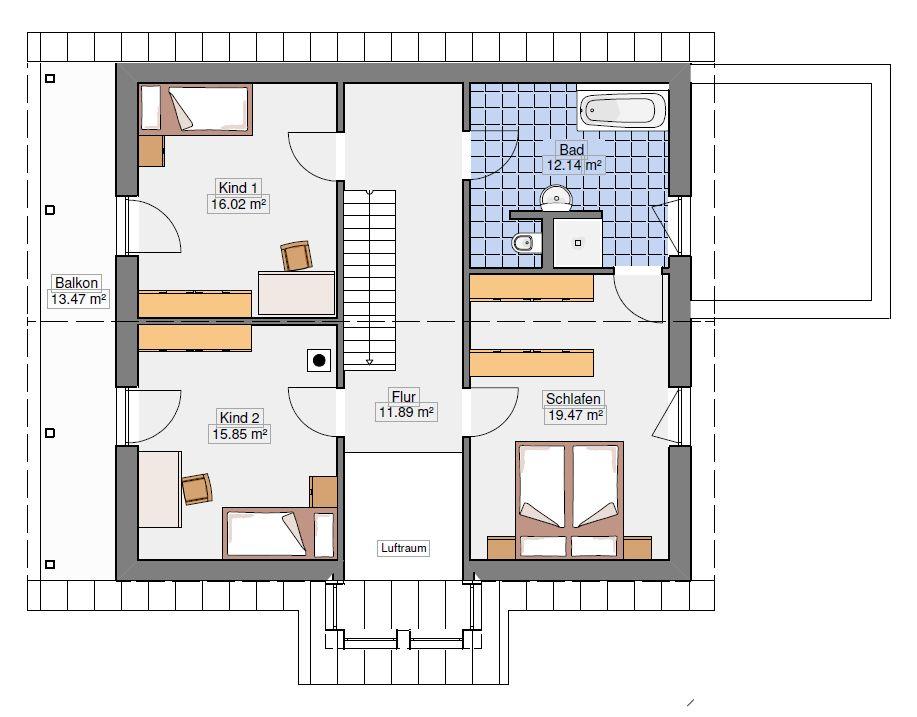 Grundriss Dachgeschoss Einfamilienhaus 181-22-190