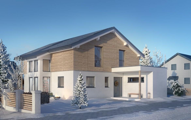 Hausentwurf EFH-HO 169-25-190 im Winter